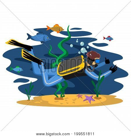 Diving snorkelling water extreme sports, isolated design element for summer vacation activity concept, cartoon wave surfing, sea beach vector illustration, active lifestyle adventure.