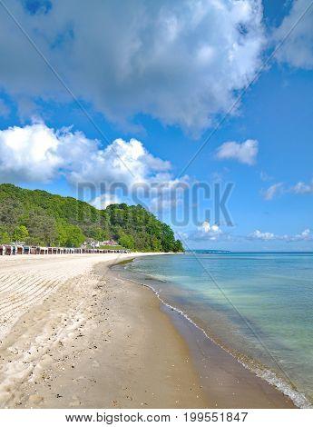 Beach of Sellin on Ruegen at baltic Sea,Mecklenburg western Pomerania,Germany