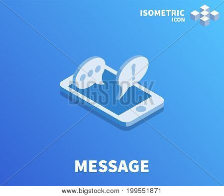 Message icon illustration vector symbol in flat isometric 3D style isolated on color background.