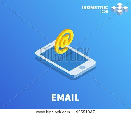 AT Email icon illustration vector symbol in flat isometric 3D style isolated on color background.