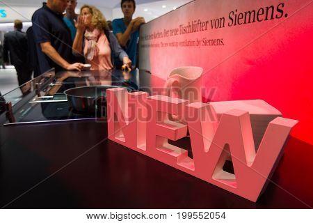 BERLIN - SEPTEMBER 04 2015: Stand by Siemens. International radio exhibition Berlin (IFA2015).