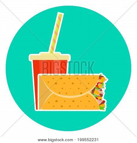 Flat colorful vector lovely fast food couple - cola and mexican burrito. Cute fastfood symbol for cafe bar restaurant menu and web design