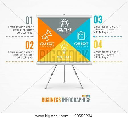 Concept of Business Infographic Option Banner Card Easel or Desk Symbol of Educate. Vector illustration