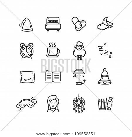 Sleeping and Insomnia Black Thin Line Icon Set for Web and App. Vector illustration