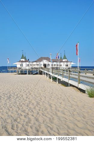 Beach and Pier of Ahlbeck at baltic Sea on Usedom,Mecklenburg western Pomerania,Germany