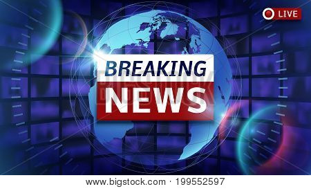 Breaking news broadcast vector futuristic background with world map. News broadcast and breaking news live illustration