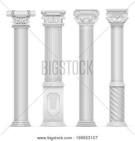 Realistic white antique roman column vector set. Building stone columns. Antique building architecture column illustration
