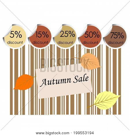Autumn sale background with bar code and leaves