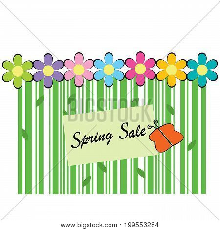 Spring sale background with bar code flowers and butterfly