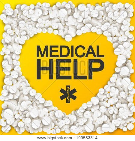 Medical help background with heart forming inscription caduceus pills and drugs vector illustration