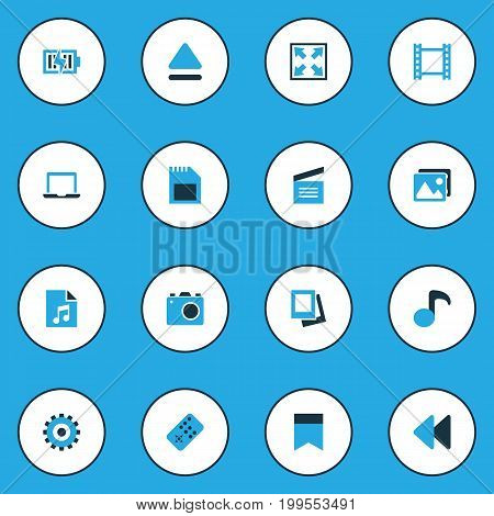 Media Colorful Icons Set. Collection Of Clapperboard, Enlarge, Camera And Other Elements