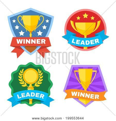 Achievement, champ and contest vector logo set with gold trophy cup. Sport trophy achievement, winner and leader illustration