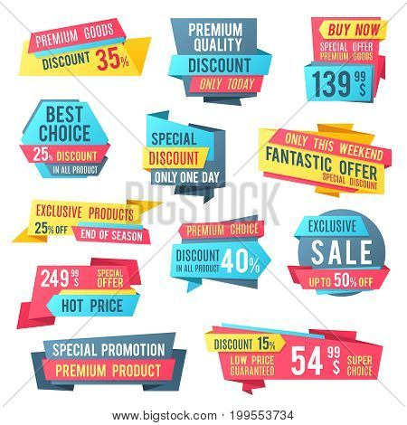 Sale banners and price tag labels, selling card and discount sticker. Best offer advertising graphics vector templates. Illustration of retail sticker and banner