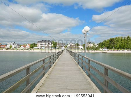 Pier and Beach of Scharbeutz at baltic Sea,Schleswig-Holstein,Germany