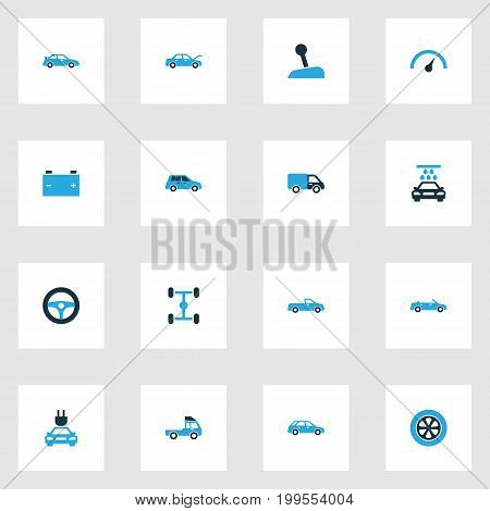 Car Colorful Icons Set. Collection Of Pickup, Tie, Chassis And Other Elements
