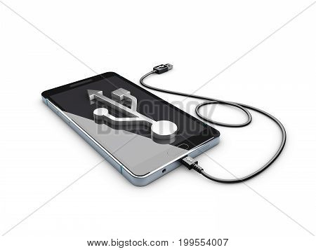 3D Illustration Of Mobile Phone With Usb Connection