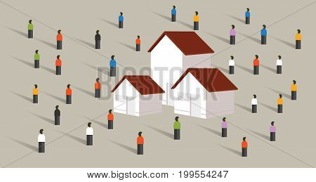 buy home housing affordable mortgage people crowd standing around property market vector
