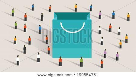 crowd shopping sale paper bag buy gift purchase marketing segmentation vector