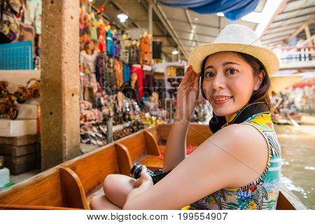 Asian Women Traveler On Travel In Thailand