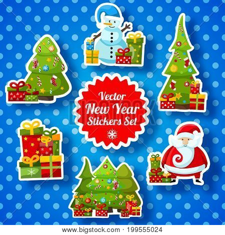 New Year stickers collection with snowman fir tree presents Santa Claus on dotted background isolated vector illustration