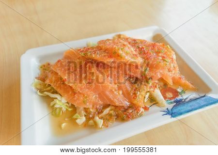 salmon mix and yum with spice for thai seafood