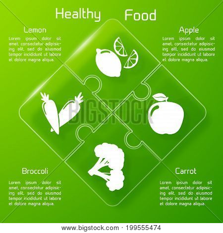 Healthy food infographics puzzle design with set of useful products icons on green background vector illustration