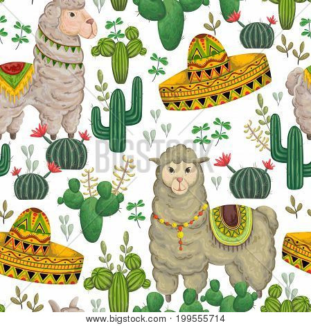 Seamless pattern with llama animal, sombrero, cacti and floral elements. Hand drawn vector illustration in watercolor style.