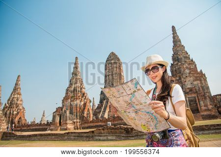 Asian Tourist Woman With Map Paper