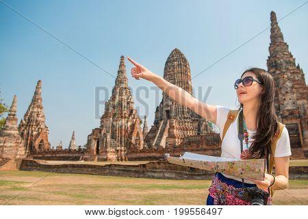 Travel Tourist Woman Holding Map
