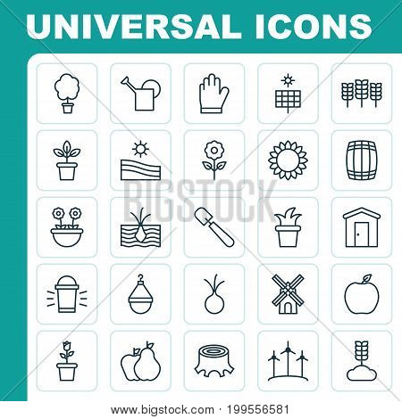 Icons Set. Collection Of Windmill, Watering Can, Garlic And Other Elements