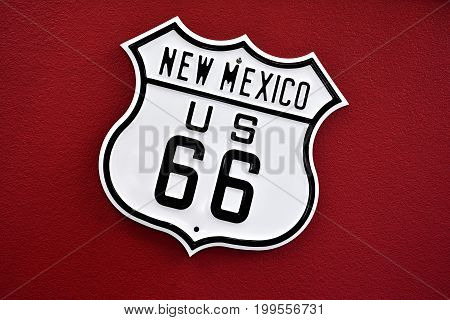Historic Route 66 sing in New Mexico Usa.