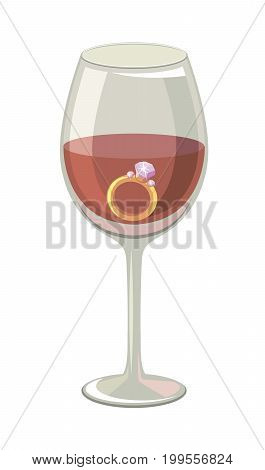 Ring with a diamond in a glass of wine. Colored vector illustration on white background