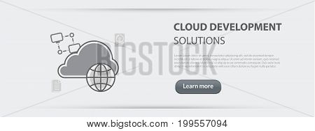 Flat line illustration business concept web banner of cloud development solutions company site services data storage share for websites and marketing materials on gray paper background