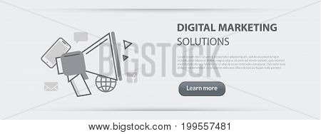 Flat line illustration business concept web banner of digital marketing solutions company site services social network and media communication for websites and marketing materials on gray paper background