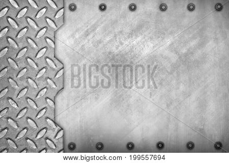 scratched metal with diamond plate background