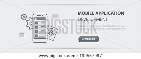 Flat line illustration business concept web banner of mobile application development company site services app design programming coding building and debugging for websites and marketing materials on gray paper background