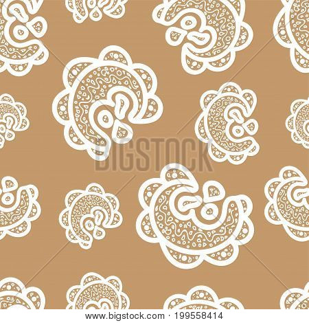 Seamless pattern.White doodle elements on beige background. Ornamentsfor web wrapping paper print fabric textile design. Vector illustration.Abstract backdrop. Aztec style.