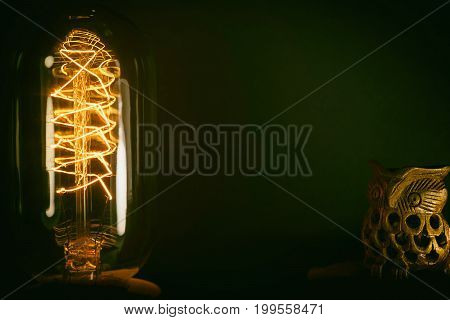 Decorative antique vintage edison style filament light bulbs with small wood owl in room.