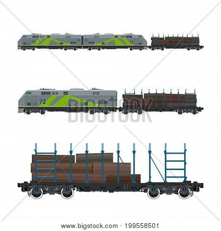 Green Locomotive with Railway Platform for Timber Transportation Train Railway and Cargo Transport Vector Illustration