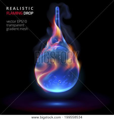 Firing drop on a black background. Vector realistic 3d droplet of blue liquid with flame and smoke. Fine closeup drip for promotion of powerful fuel or energy drinks and strong alcohol of night clubs.