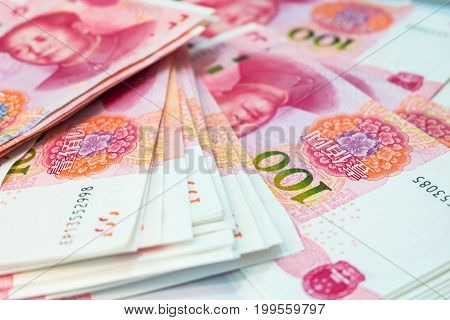 Chinese yuan banknotes China's currency use for money background.