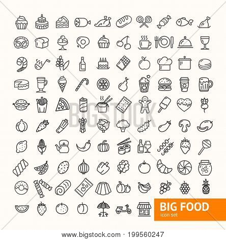 Big Food Black Thin Line Icon Set for web, app, flyer, adwertizing, sign Include of fruit, beverage, vegetable, bakery and burger. Vector illustration