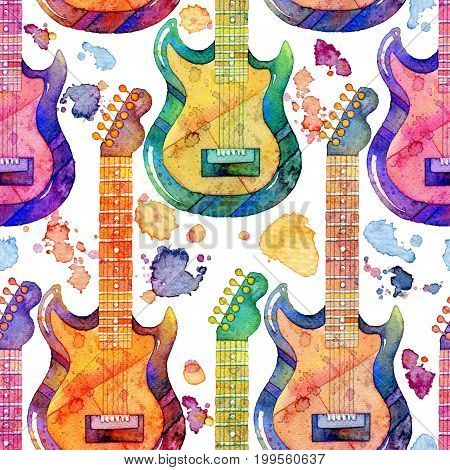 Seamless pattern with watercolor electric guitar and splashes on white background. Abstract hand drawn illustration