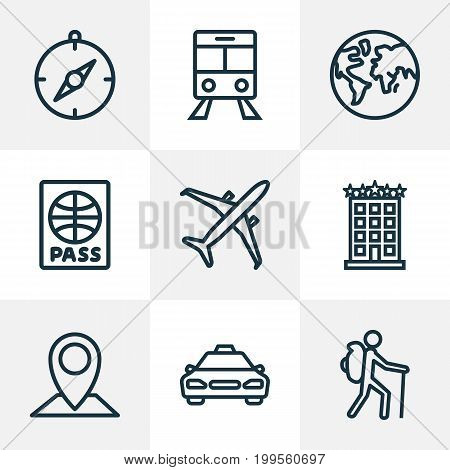 Exploration Outline Icons Set. Collection Of Tram, Certificate, Building And Other Elements