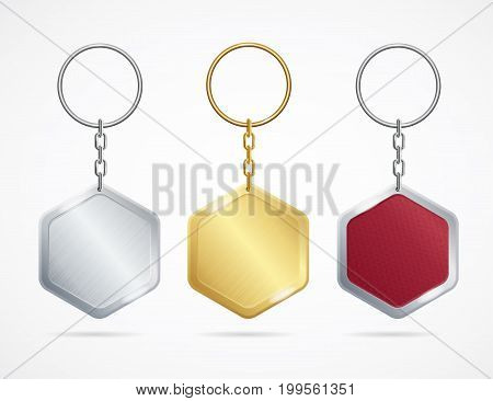 Realistic Metal and Plastic Keychains Set Rhombus Designs Web Element. Vector illustration of silver, golden keychain