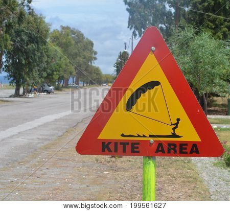 sign for kite surfing near the sea