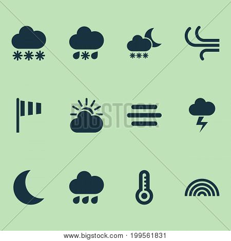 Climate Icons Set. Collection Of Wet, Temperature, Haze And Other Elements