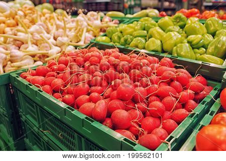 Red radish and another vegetables in supermarket or grocery store, toned image