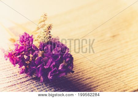 Bouquet Of Dried Wild Purple Flowers On Table Background With Vintage Image Style And Soft Light