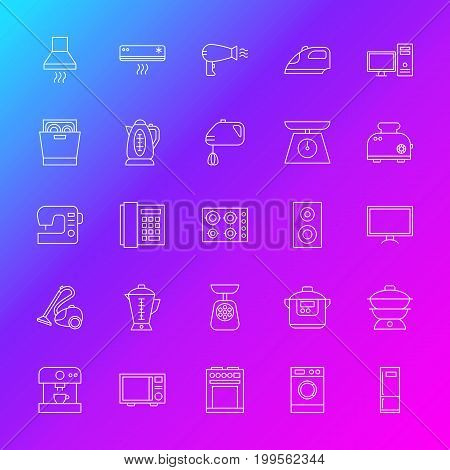 Household Appliance Line Icons. Vector Illustration of Outline Electronics Symbols over Blurred Background.